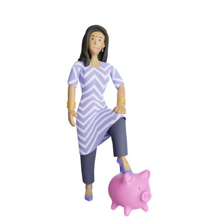 Indian business woman in savings concept 3D Illustration