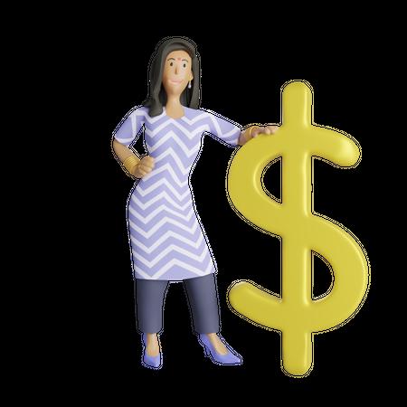 Indian business woman standing besides dollar symbol 3D Illustration