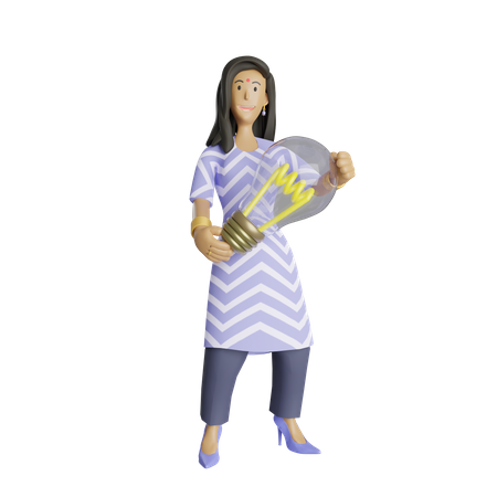 Indian business woman with innovative idea 3D Illustration