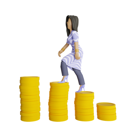 Indian female investor gaining profit from investment 3D Illustration