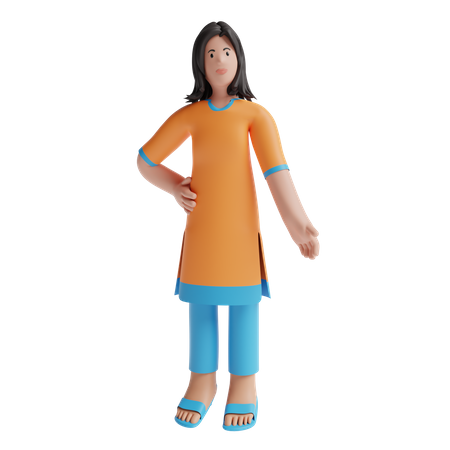 Indian Woman with traditional wear 3D Illustration