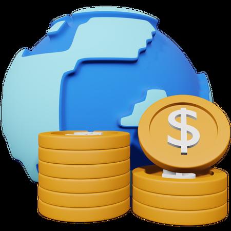 International Currency 3D Illustration