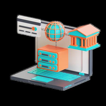 Internet banking 3D Illustration