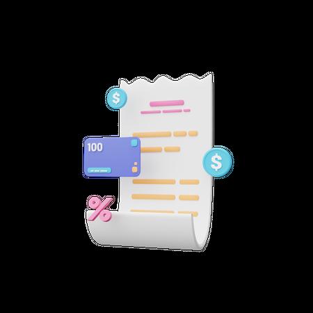 Invoice 3D Illustration