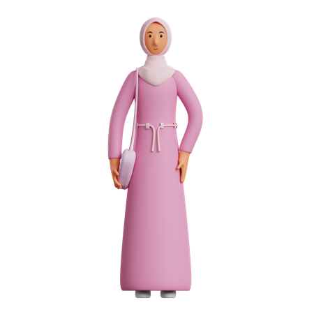 Islamic woman holding purse 3D Illustration