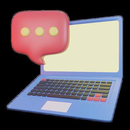 Laptop Chating 3D Illustration