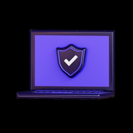 Laptop Security 3D Illustration