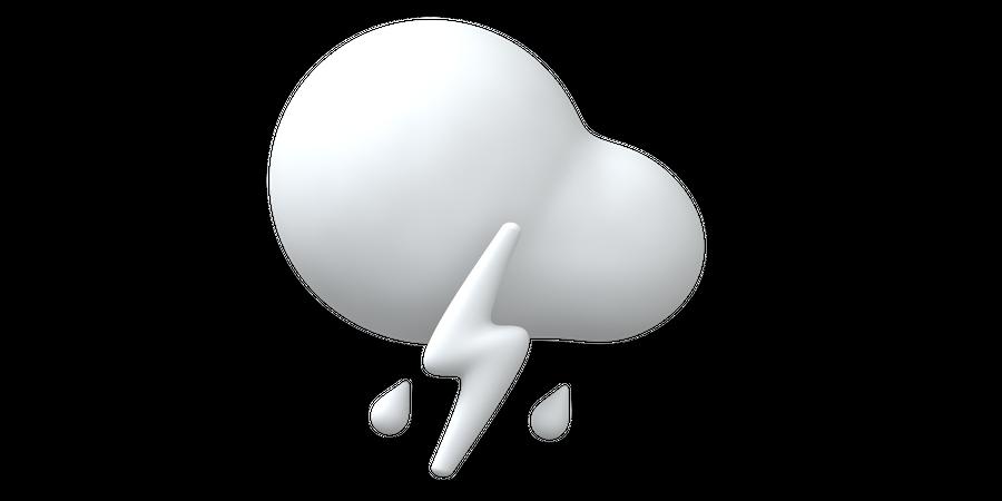 Lightning and rain 3D Illustration