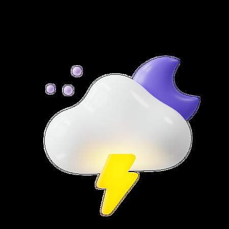 Lightning at night 3D Illustration
