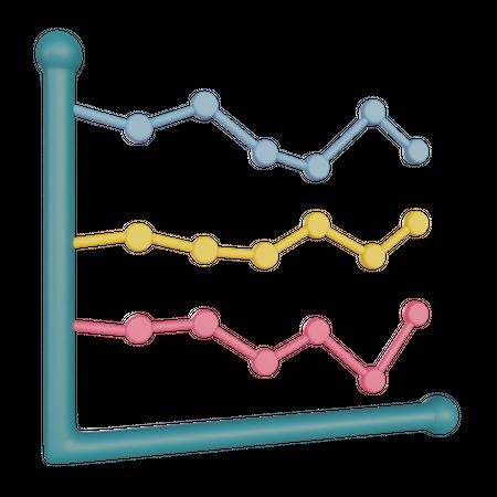 Line Chart 3D Illustration