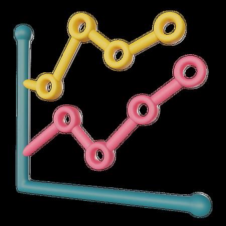 Line Chart Growth 3D Illustration