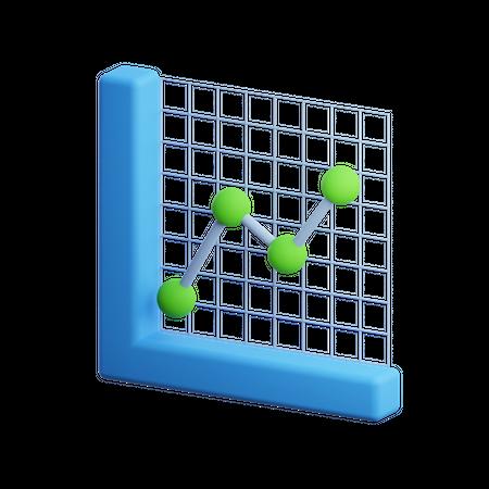 Line Growth Chart 3D Illustration