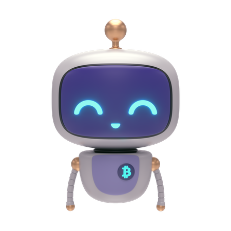 Little Bot with Bitcoin 3D Illustration
