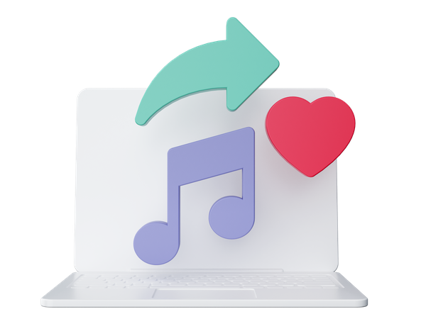 Love Music on laptop 3D Illustration