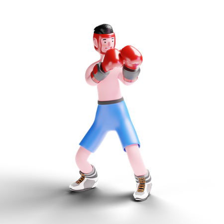 Male boxer working on defense technique 3D Illustration