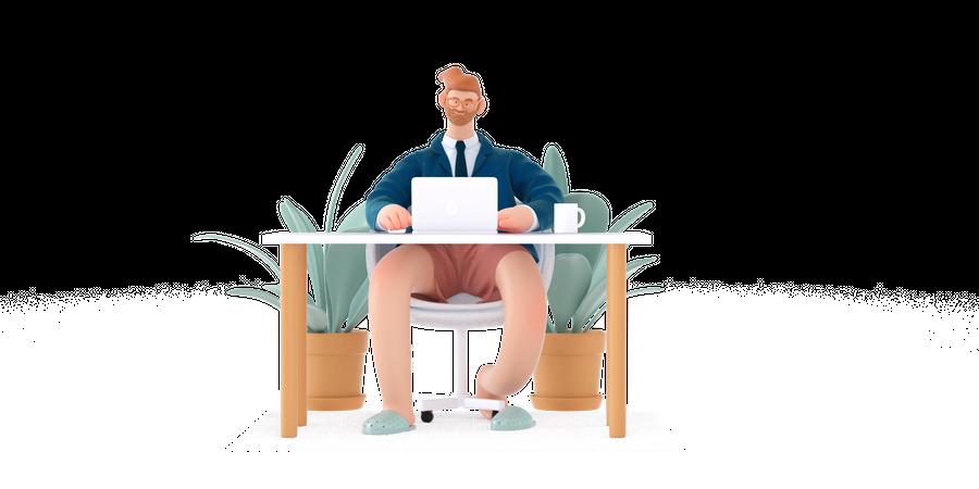 Male Businessman working on laptop 3D Illustration