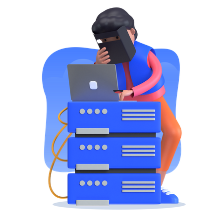 Male collecting data from server 3D Illustration