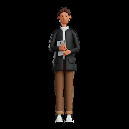 Male employee holding tablet 3D Illustration