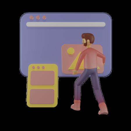 Male employee solving problem 3D Illustration