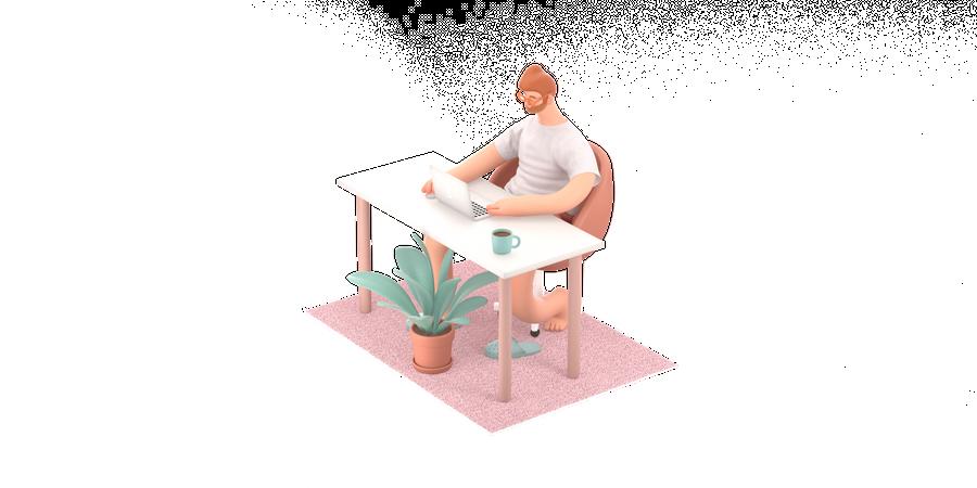 Male freelancer working on desk 3D Illustration