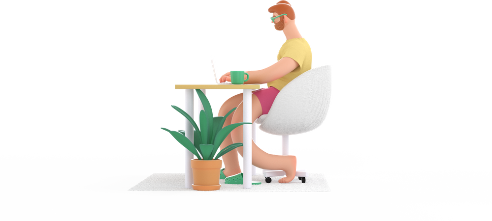 Male freelancer working on own project 3D Illustration