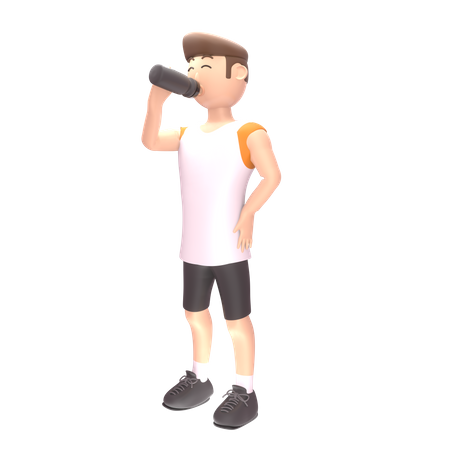 Male sports person drinking energy drink 3D Illustration