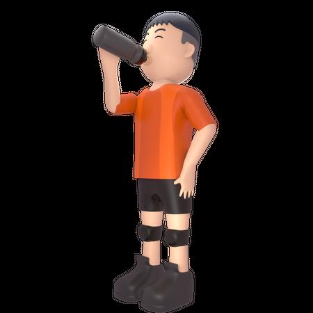 Male sportsperson drinking energy drink 3D Illustration