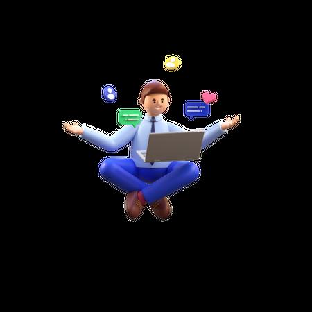 Man attending online meeting 3D Illustration