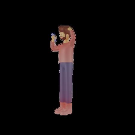 Man chatting on mobile 3D Illustration
