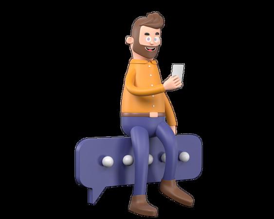 Man chatting on social media 3D Illustration