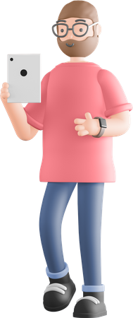Man clicking photo on phone 3D Illustration