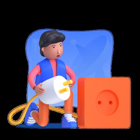Man connecting charging plug in socket 3D Illustration