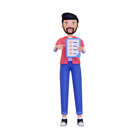 Man displays a check list 3D Illustration
