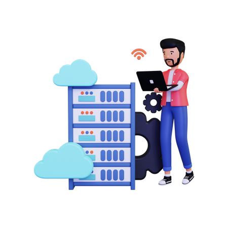 Man doing Cloud hosting with using laptop 3D Illustration