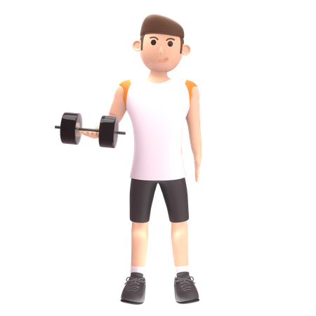 Man doing exercise with dumbbells 3D Illustration