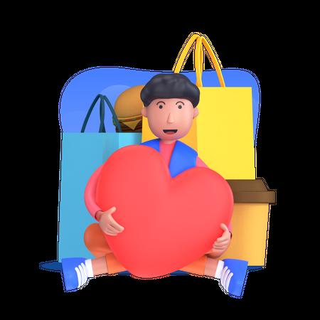 Man doing festival shopping 3D Illustration