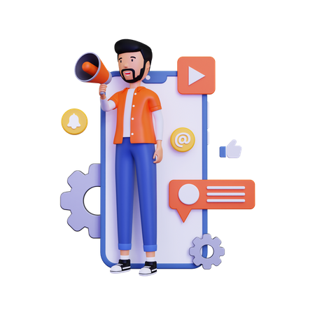 Man doing on Mobile marketing with holding megaphone loudspeaker 3D Illustration