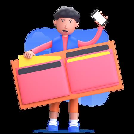 Man doing online payment 3D Illustration