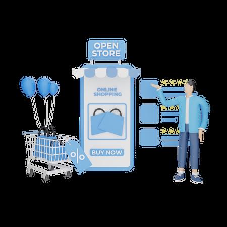 Man doing online shopping 3D Illustration