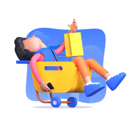 Man doing online shopping and adding item into cart 3D Illustration