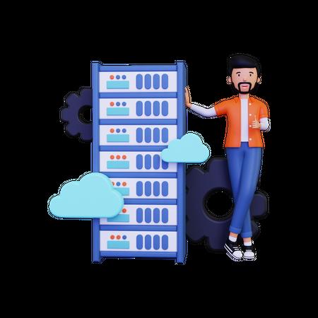 Man doing server cloud hosting 3D Illustration