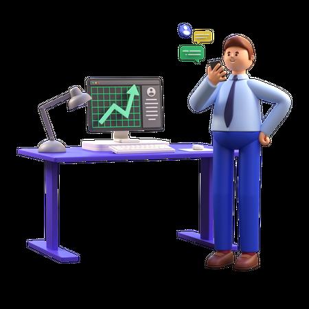 Man doing stock trading 3D Illustration