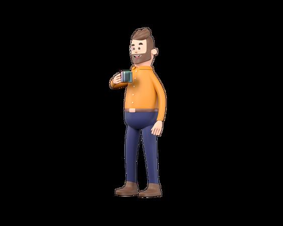 Man drinking coffee 3D Illustration
