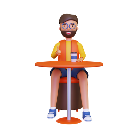 Man enjoying coffee in cafe table 3D Illustration