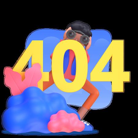 Man facing 404 error 3D Illustration