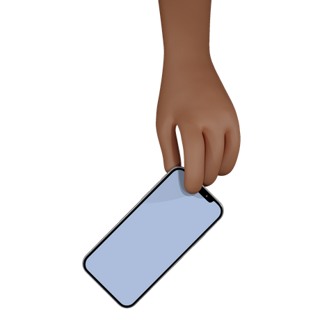 Man hand holding smartphone with blank screen 3D Illustration