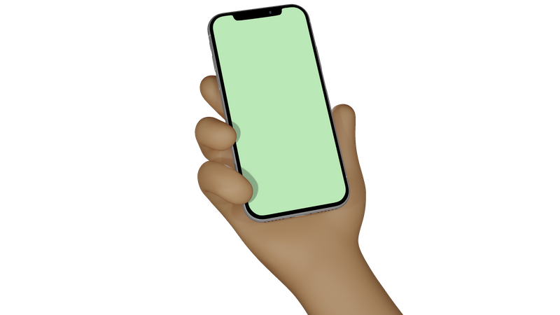 Man hand holding smartphone with blank screen for showcase 3D Illustration