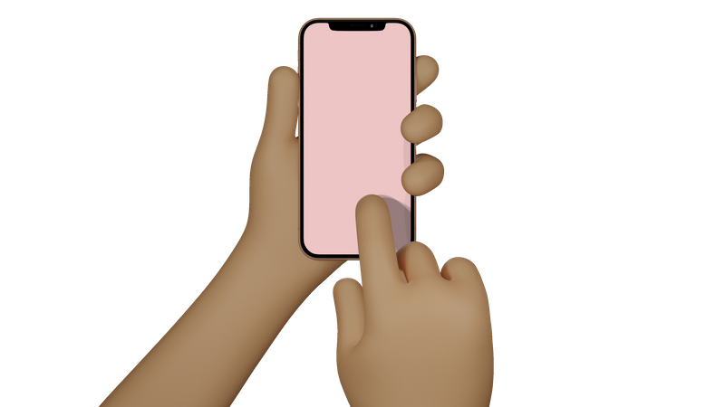 Man hands holding cellphone with blank screen, taking photo 3D Illustration