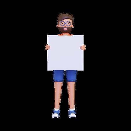 Man holding a blank placard 3D Illustration