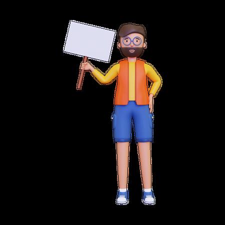 Man holding a blank placard board 3D Illustration